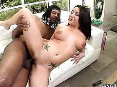 Brunette woman Charity Bangs with shaved beaver groans in interracial fucking ecstasy