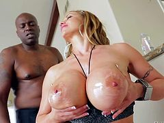 Busty woman Eva Notty plays with her juggs and shakes her big booty in front of Lexington Steele. Then they get interracial sex session started. Big titted Eva Notty is fuck hungry.