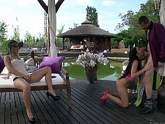 Leggy babes Victoria Blaze and Blanche Bradburry pull off their panties and get their asses tongue fucked from behind before it comes to cock sucking. Hot chicks give head outdoors!