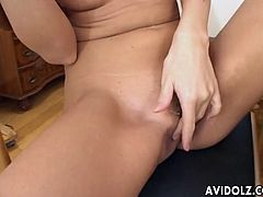 Torrid though pale brunette from Japan Misora pets her hungry twat with cucumber