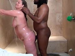 Shelby Sexton has shower sex with a big black cock
