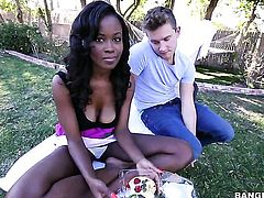Brunette african Jezabel Vessir makes mans sexual fantasies come true with her help of her skillful hands