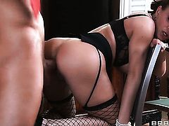 Bill Bailey loves lovely Diamond FoxxxS cornhole and fucks her as hard as possible after dick sucking