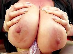 Kianna Dior is a brunette Asian with huge tits. She is massaging her nipples with a dick. She loves to slap that shaft against her rack. It makes a loud sound.