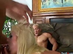 Hot blonde Staci Thorn knows how to deepthroat and she is really into DP