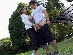 Skintight black spandex pants ripped open for Japanese sex