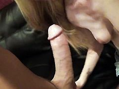 Amy Quinn takes rock hard ram rod in her hands