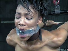 Nikki is currently in restraints, and they look a little painful. Her arms are tied behind her back, stretched out and slightly above her. Good thing she's in decent shape or she would be in trouble. Her executor uses a vibrator on her, to bring some pleasure to the pain, that she's experiencing now.