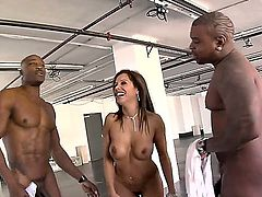 Francesca Le is tasting some dark meat anally in a threesome. Watch the busty woman in a sandwich between two black guys. She has a great time.