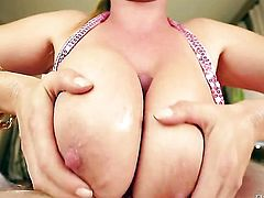 Passionate hoochie with huge hooters has some time to get some pleasure with hard dicked fuck buddy Jonni Darkko