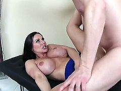 Kendra Lust pulls her husbands pants down and grabs a hold of his dick. They have been away for a while and she wants to get close to him again.