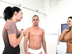 Brunette Mariah Milano with big butt spends her sexual energy with stiff cock in her mouth