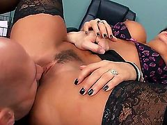 Lisa Ann xxx is fucking her husband in the office. She has been hired by her man so he would have free access to her pussy. She is a real nympho.
