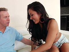 Hot asian chick Morgan Lee with long legs and perfect ass shows her assets and makes older guys sex fantasies a reality. Mark Wood loves her body. He cant wait to give her tight twat a try.