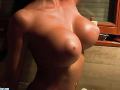 Aletta Ocean with big tits gets down all by herself