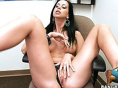 Brunette Larissa Dee with big butt gets her muff attacked by hard pole