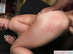 Johnny Castle shows nice sex tricks to With juicy knockers and hairless cunt with the help of his th