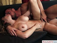 Johnny Castle shows nice sex tricks to With juicy knockers and hairless cunt with the help of his throbbing schlong