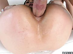 Brunette Sarah Shevon with bubbly ass believes that fresh cum gives her sexual energy