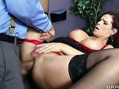 Ramon pops out his love stick to fuck Syren De Mer with giant breasts in the bum