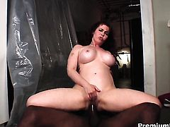 Prettied up whore Mae Victoria with massive jugs cant resist mans rock solid fuck stick in steamy interracial action