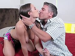 A guy sees his friends daughter and he cant help himself when he sees her huge tits. The girl gets them licked and then she starts licking his hard dick.