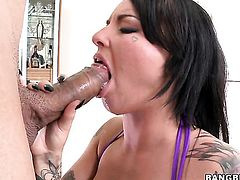 Christy Mack with huge tits fulfills her sexual needs with guys love wand in her mouth