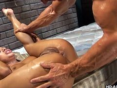 Down in what looks like a dungeon or a prison cell, Jasmine is sucking this guy's cock, before reverse riding, with his dick in her ass. She lays on her back and gets her rectum wrecked some more. He goes all out, pounding her rear end with every inch of his throbbing manhood. She even gets choked.