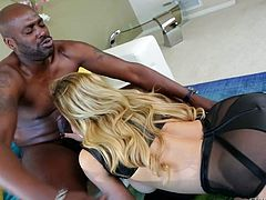 Look at this beautiful and horny blonde chick Cherie Deville - one of the best blonde pornstars. This superb booby babe is really glad to take lexington Steeles huge black cock in all her holes.