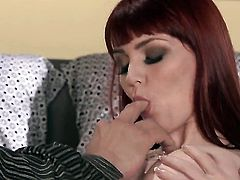 Marie McCray has fire in her eyes as she gets her lovely face painted with sperm after sex with horny guy