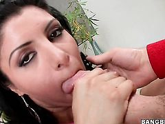 Sativa Rose with round ass lets man insert his rod in her mouth