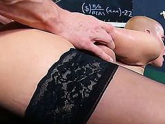 Joslyn James is a busty schoolgirl that is bored with math. Until the new math teacher arrives. Then she goes out of her way to get on his good terms.