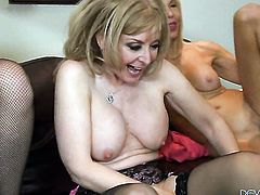 Nina Hartley gets treated like a fuck toy by horny lesbian Sable Renae