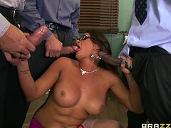 We were in a meeting, when suddenly Tory joked about not having sex for a long time. We told her, any guy will be lucky to fuck her. One thing lead to another, she let us touch her. And she took care of the three of us at the same time. After this, we are definitely going to hold another meeting.