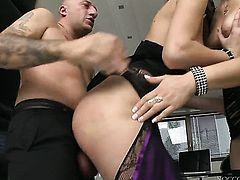 Omar Galanti gets pleasure from fucking adorable Mira Sunsets asshole after suck job