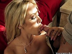 With massive breasts and shaved cunt gets some in steamy sex session with Tyler Nixon