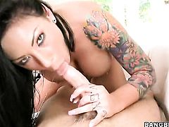 Brunette Mason Moore with round bottom enjoys dudes thick rock solid love torpedo in her juicy mouth