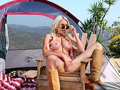 chesty blonde gigi masturbates in the great outdoors