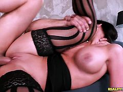 Phoenix Marie with gigantic jugs and smooth twat taking oral sex to the whole new level as she does it with hard cocked dude Toni Ribas