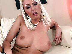 Blonde Pamela Blond with big melons is on fire in solo action