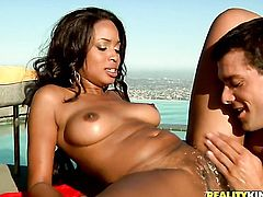 Mckenzie Sweet with juicy jugs and shaved cunt tries her hardest to make hot guy Ramon Nomar bust a nut with her mouth