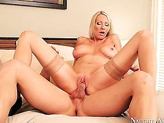 Johnny Castle explores the depth of eye-popping Emma Starrs wet honeypot with his snake