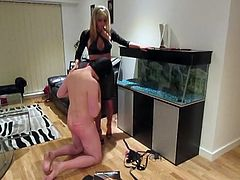 Mistress makes slave suck the strapon before fucking him