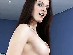 Redhead Mira with giant melons finds herself horny and takes toy in her wet spot with big desire