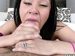 Brunette Charley Chase with bubbly bottom gets mouth banged by hot guy