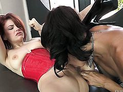 Close up of lesbian anal sex