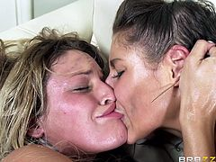 Abella and Kissa are on a very nice couch, which is now soaked with their sweat and other body fluids. I don't know when they are going to get down to some pussy licking, but seeing them work each other's assholes is pretty hot. They lick and shove dildos in one another, making them scream with desire.