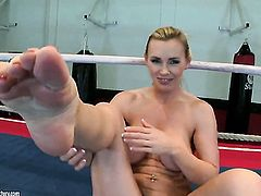Blonde Tanya Tate displays her naughty parts before she plays with herself