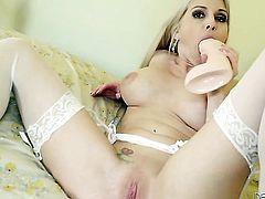 Alluring sweetie Christie Stevens with massive breasts is ready to play with her love hole from dusk