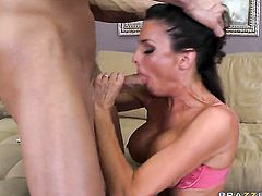 Veronica Avluv with big knockers is ready to spend hours with Johnny Sinss love torpedo in her mouth
